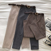 英国スタイル 小さいグリッド  紋 羊毛の 九分パンツ 女 秋冬 新しいデザイン 韓国風