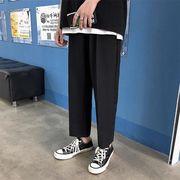 男性 夏 ロングパンツ ストレートズボン ファッション 男性 薄 九分丈パンツ ブラック