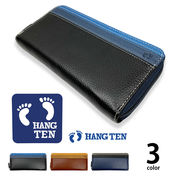 全3色 HANG TEN ハンテン リアルレザー トリコロールカラー ラウンドファスナー 長財布 ロングウォレット