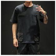 マルチポケット 半袖 トップス メンズ カジュアル Tシャツ ブラック