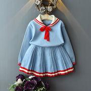 ★2019秋新作★キッズセット 女の子ニット+ミニスカート2点セット ブルー【90CM-130CM】