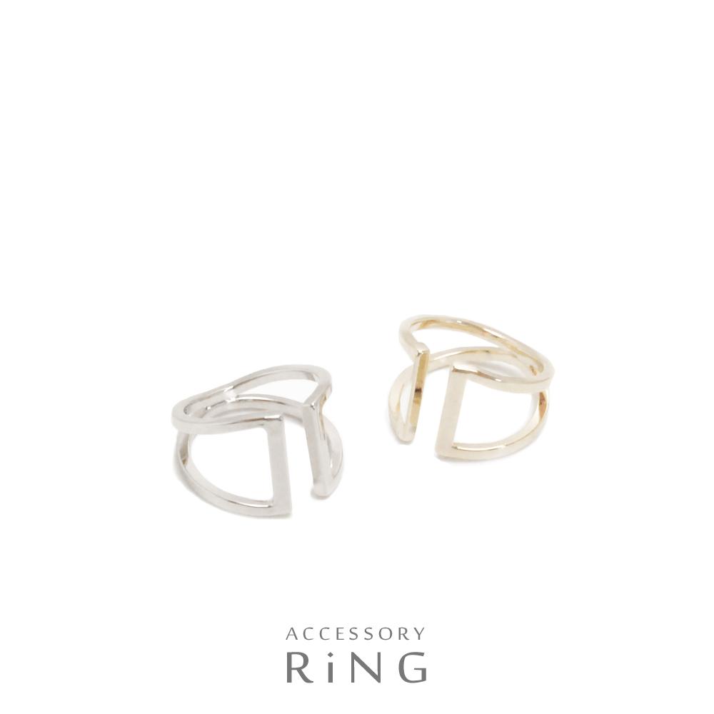 ▼MAGGIO▼ 【表・裏で使っても◎】 オシャレ度UP↑ ブリッジワイドメタルリング(指輪)