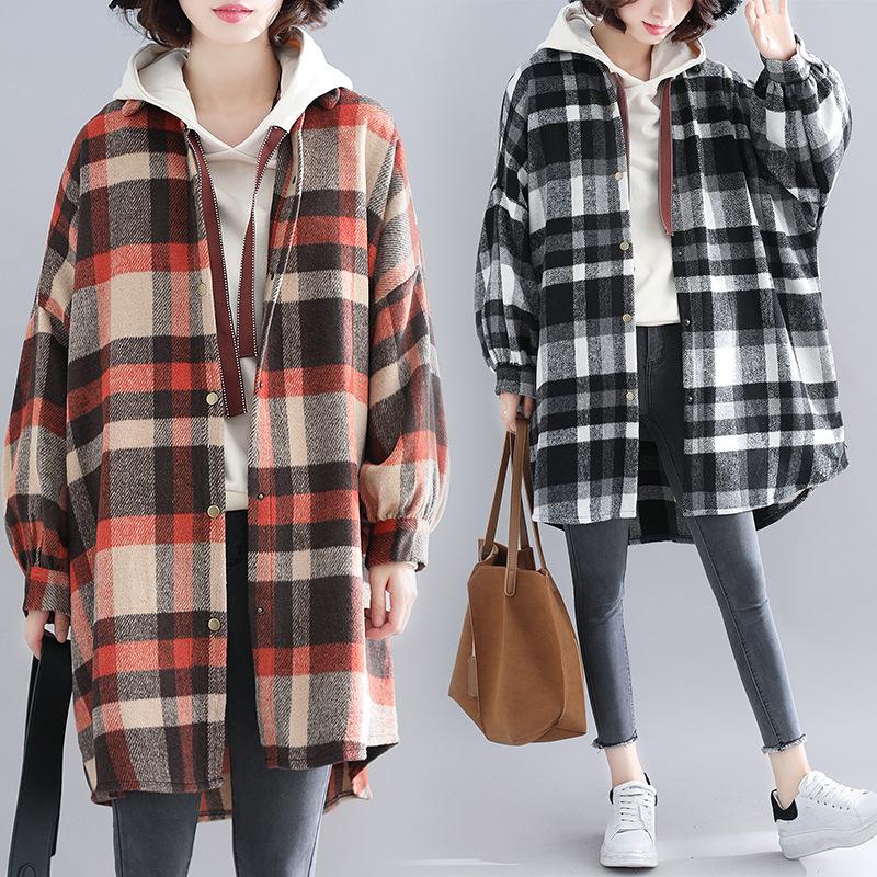 全3色 ロングシャツ チェック柄 大きいサイズ ボリューム袖 秋冬 日系 L-2L 0757069 coat1912