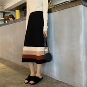 韓国ファッション スカート バイカラー フリル