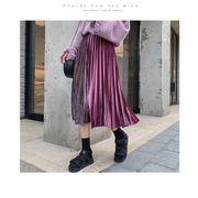 ベロアプリーツスカート配色プリーツ ウエストゴム ロングスカートファッション レディースパープル