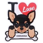 【ステッカー】チワワ 防水ステッカー I LOVE DOG