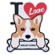 【ステッカー】ウェルシュコーギー 防水ステッカー I LOVE DOG