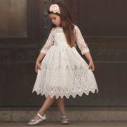 ★子供ドレス ディズニーランド服 パーディー 花柄レースドレスワンピース 三五七ドレス