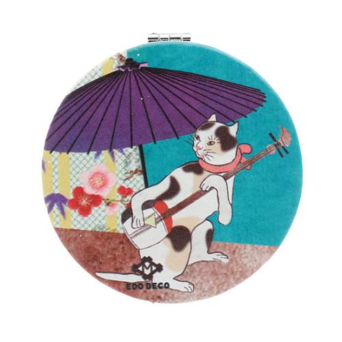 4008788-01 洒落ねこ コンパクトミラー 丸 和傘