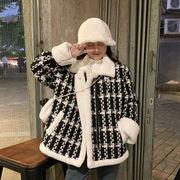 手厚い 短いスタイル チェック柄ウールコート 女 冬 新しいデザイン 韓国風 小 個 息