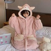スウィート 手厚い 暖かい サンゴ ベルベット ナイトドレス 女 冬 新しいデザイン 韓