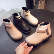 秋と冬 裏起毛 児童 ブーツ 女児 韓国風 チューブ 革靴 学生 レジャー