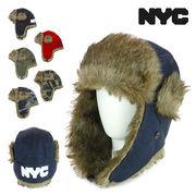 NYCロゴプリントフライトキャップ ヤング帽子
