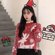 セミハイ襟 クリスマス セーターの女性 秋冬 アウトドア 新しいデザイン 韓国風 ルース