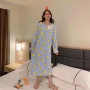 スウィート かわいい 黄ガモ プリント リボン ナイトドレス 女 秋冬 新しいデザイン