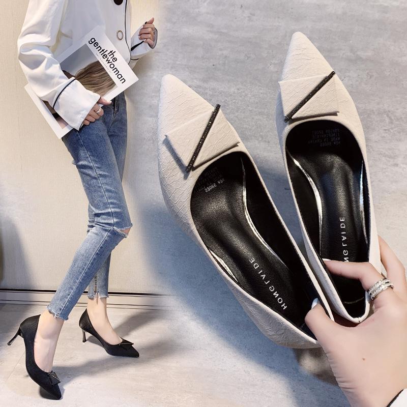 2020年春   ファッション 優雅 細かいヒール 先のとがった   シングルシューズ