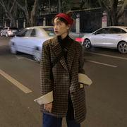 冬 新しいデザイン 韓国風 ルース 手厚い チェック柄ウールコート 女性英国スタイル ア