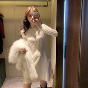 2色 韓国ファッション レディーズ ケーブル編み セーター ニット シンプル ニットセーターワンピース