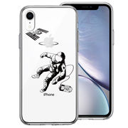 iPhoneXR 側面ソフト 背面ハード ハイブリッド クリア ケース 宇宙飛行士