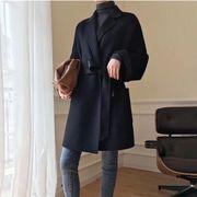 YUNOHAMIコートアウター 4色 韓国ファッション 中長スタイル ウールコート ひもあり ゆったり 秋冬