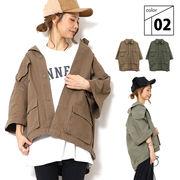 ミリタリー オーバーサイズ 八分袖 ジャケット レディース 秋 冬 カジュアル