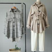 2020新作 レディース シャツ 厚 トップス 長袖 春 ベルト付き 韓国 ファッション