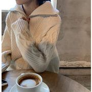週末に着たい服 タートルネック 中・長セクション ジッパー セーター 秋冬 新品  厚手 ニットトップス