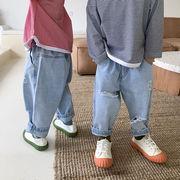 デニムパンツ 韓国子供服 キッズ ジュニア ボトムス ダメージ ズボン ファッション 2020新作 セール