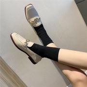 靴 春 新しいデザイン スクエアヘッド 小さな靴 女性英国スタイル フラット ローファー