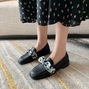 靴 女靴 春 太いヒール 小さな靴 女性英国スタイル リボン スリップ ローファー シン