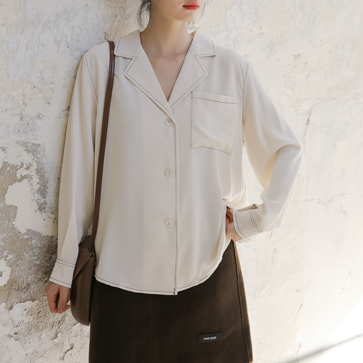 2020年春 新しい韓国 シンプルなデザイン 緩いラペルオープンラインシフォンシャツ女性
