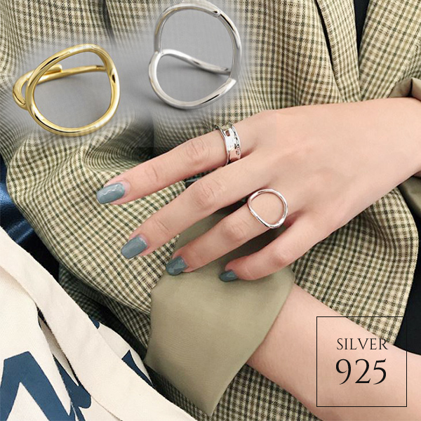 【即納】★2020春夏新作★全2色!シルバー925 シンプルオーバルデザインオープンリング指輪 [kgf0732]