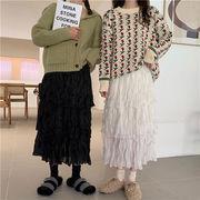 レビュー続々 カジュアル 減齢 韓国ファッションシフォン スカート ケーキスカート 中・長セクション
