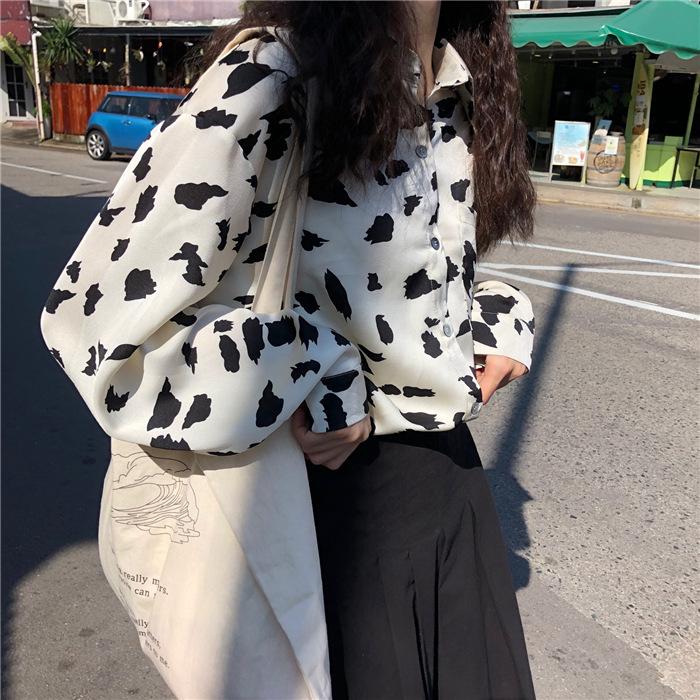 リアルショット 2020年春 韓国語 サテン 牛長袖シャツ