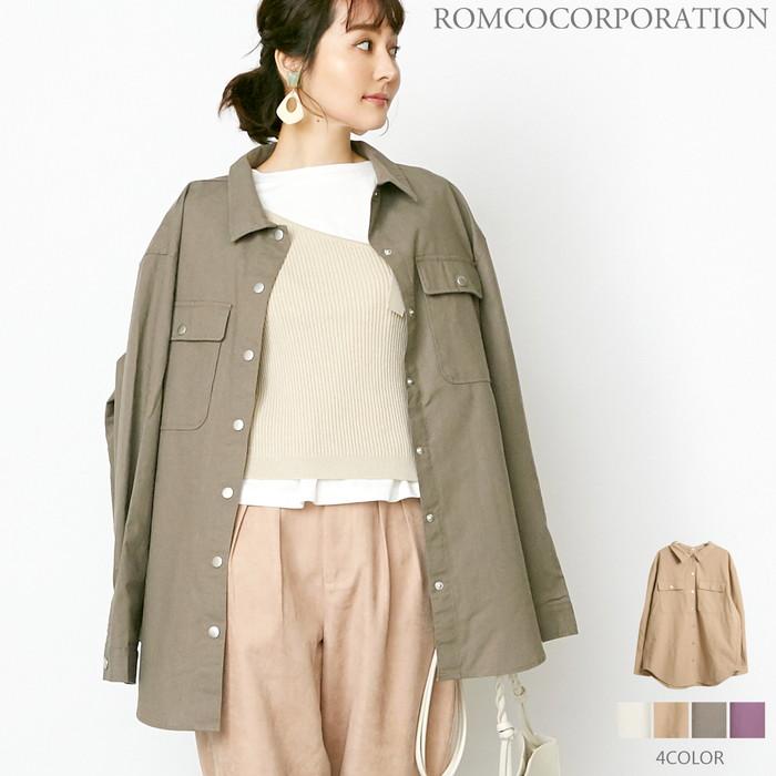 【SALE!】COTTON LINEN / 後ろドット釦 オーバーサイズCPOシャツ【2020春夏新作♪】