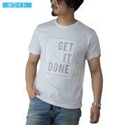【2020春夏新作】 半袖Tシャツ メンズ クルーネック エンボス ロゴ プリント 丸首 ロゴTシャツ カットソー