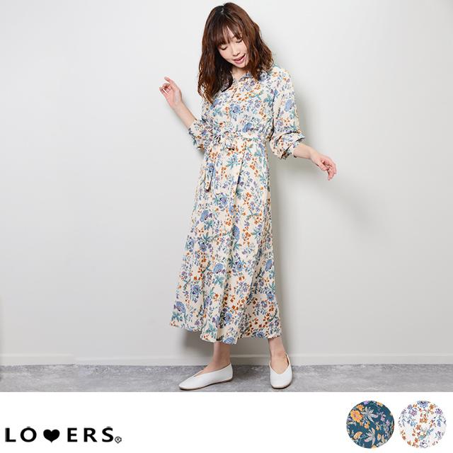 花柄オープンカラーワンピース 【即納】 シンプル 花柄 オープンカラー ワンピース  トレンド