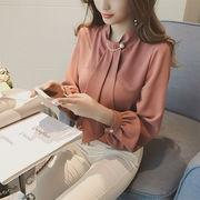 春新作シフォンブラウス人気シフォンシャツ可愛い胸元パールタイレディーストップス通勤上品