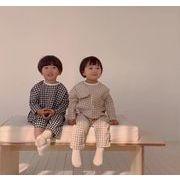 大人気 春秋夏 4色 女の子 男の子 2点セット チェック 格子 ホームウェア パジャマ