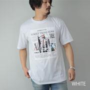 2020新作 プリントTシャツ メンズ 半袖 ロゴプリント フォト ニュースペーパープリント ビッグシルエット