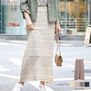 【2020春物新作♪】7G綿アクリル 透かし編みニットロングスカート