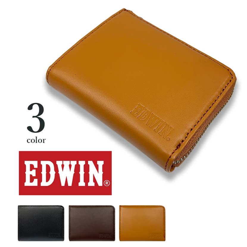 【全3色】EDWIN エドウイン リアルレザー ラウンドファスナー コインケース 小銭入れ