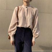 2カラー 長袖シャツ/ボリューム袖/体型カバー/着痩せ/無地/韓国風/レトロ調