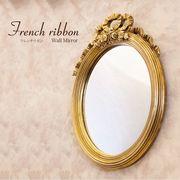 French Ribbon フレンチリボン ウ ォールミラー(Antique Goldオーバル)♪