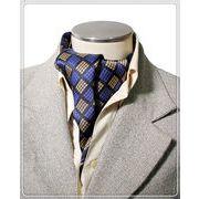 エレガントな袋縫いプリント柄入りメンズ用100%シルクスカーフ 10141b