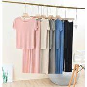 売りつくす Tシャツ 9分丈ワイドパンツ 上下セットレディース ノースリーブ ストレッチ  ストレート