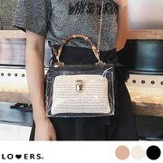 ウッドハンドルクリアバッグ 【即納】バッグ 鞄 クリア PVC ミニ 2way ショルダーバッグ ハンドバッグ