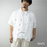 【2020新作】 シャツ メンズ 半袖 ビッグシルエット ワーク ミリタリー ビッグシャツ オーバーシャツ