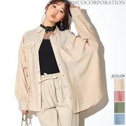 【2020春夏新作♪】シアー素材 バックタックスリットオーバーシャツ