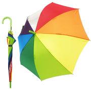 雨の日が楽しく♪元気になる傘 【レインボー グリーン】 子ども傘 55cm